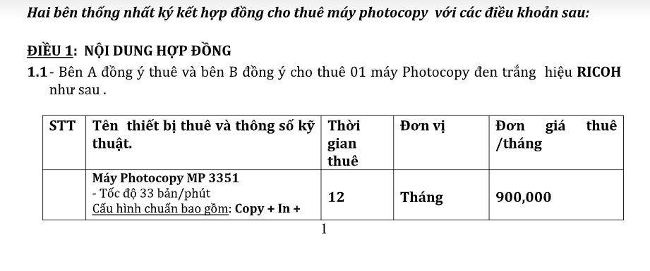 Hợp đồng cho thuê máy photocopy linh động
